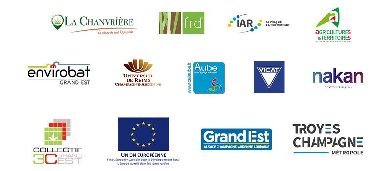 Les partenaires du projet sont la chanvrière, FRD, le pôle IAR, l'URCA, le CEIA, VIVCAT, soutenus par l'UE et la Région Grand Est