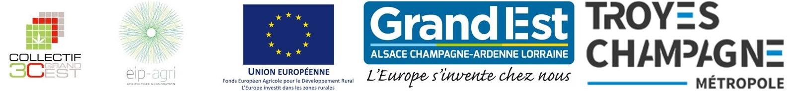 Logos Collectif 3C Grand Est, PEI Agri, FEADER, Région Frand Est, Troyes Champagne Métropole